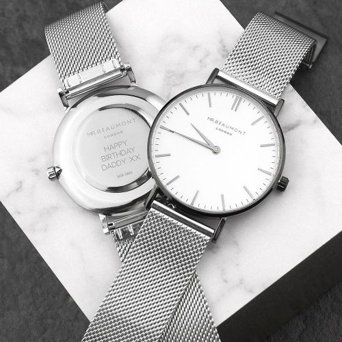 Men's Metallic Silver Watch